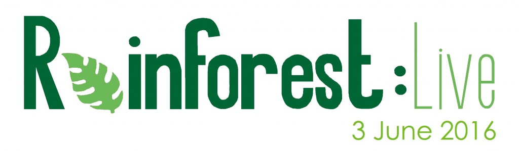 Rainforest Live logo with date